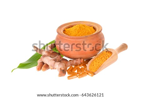 Turmeric capsule on white background #643626121