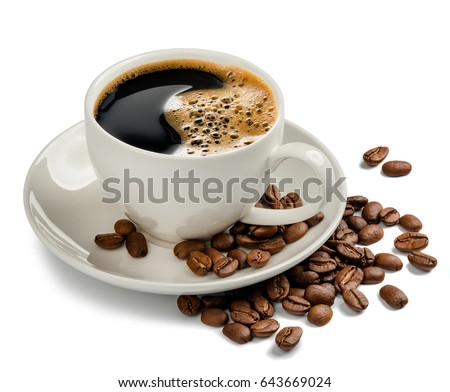 Coffee cup and coffee beans on white background #643669024