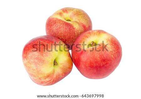 Three ripe nectarines isolated on white background #643697998