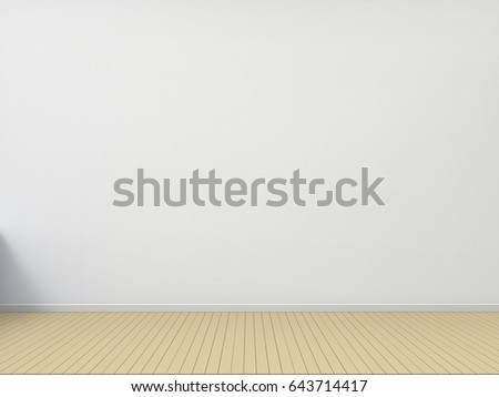 Empty Room Wood floor with white wall Contemporary living room / 3d rendering #643714417