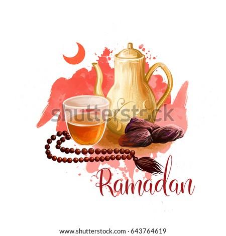 Ramadan Kareem holiday greeting card design. Symbols of Ramadan Mubarak: Crescent, Beads, Dates, Tea. Digital art illustration with colorful paint splash background. Graphic clip art for web, print