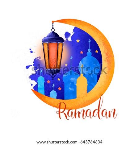 Ramadan Kareem holiday greeting card design. Symbols of Ramadan Mubarak: Muslim Mosque, Crescent, Ramazan Lantern. Digital art illustration with colorful paint splash. Graphic clip art for web, print