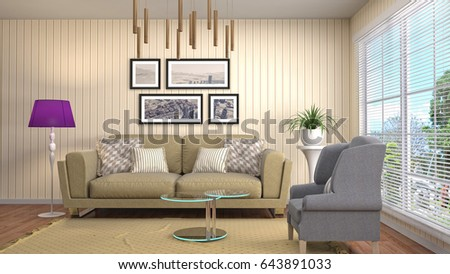 Interior living room. 3d illustration #643891033