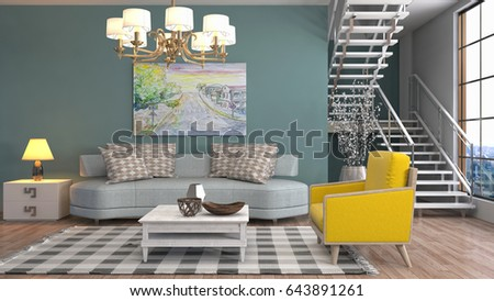 Interior living room. 3d illustration #643891261