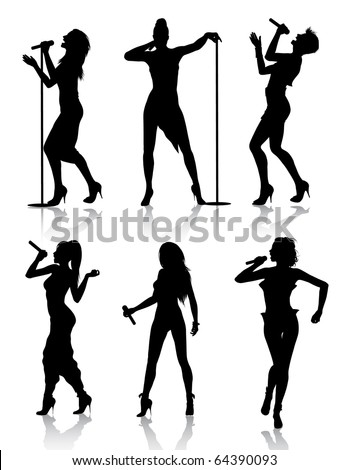 Female Singers Silhouette Set (also available vector version of this image)