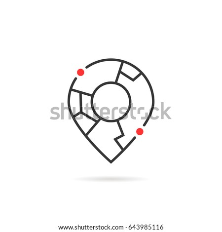 thin line abstract geolocation logo like map pin. concept of find your house in town or simple badge for geolocator. linear flat trend modern logotype graphic art brand ui design isolated on white Royalty-Free Stock Photo #643985116