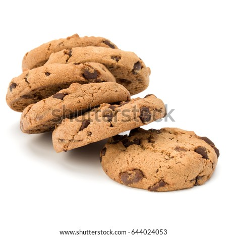 Chocolate chip cookies isolated on white background. Sweet biscuits. Homemade pastry. #644024053