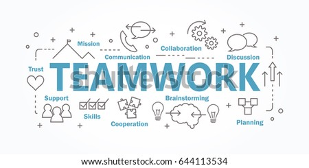 Vector banner flat design in teamwork concept. Royalty-Free Stock Photo #644113534