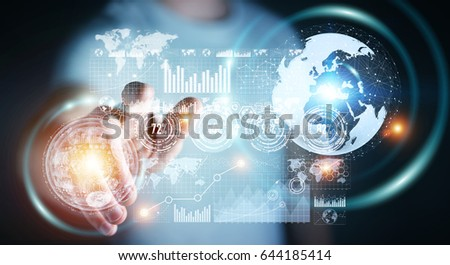 Businessman on blurred background using hologram screen with digital datas 3D rendering #644185414