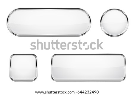 White glass buttons with chrome frame. Vector 3d illustration isolated on white background