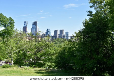 City park with Philadelphia skyline in background