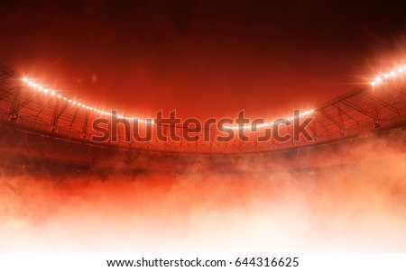 soccer stadium on red steam background Royalty-Free Stock Photo #644316625