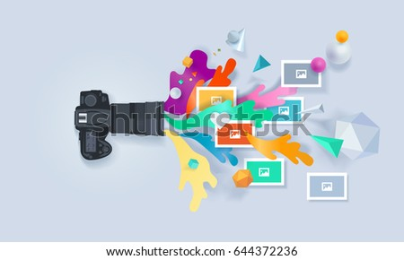Creative concept banner. Vector illustration for photography, portfolio, gallery, photo editor, apps.