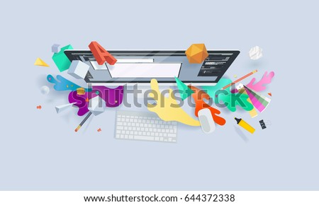 Creative concept banner. Vector illustration for graphic and web design, logo design, vector design, stationary, branding, corporate identity, product design. Royalty-Free Stock Photo #644372338