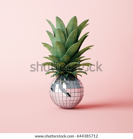 Disco ball pineapple concept Royalty-Free Stock Photo #644385712
