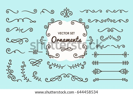 Set Collection of Vintage Ornament Elements on Blue Background Royalty-Free Stock Photo #644458534