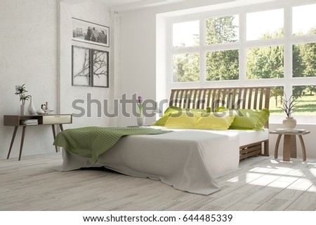 White bedroom with green landscape in window. Scandinavian interior design. 3D illustration #644485339