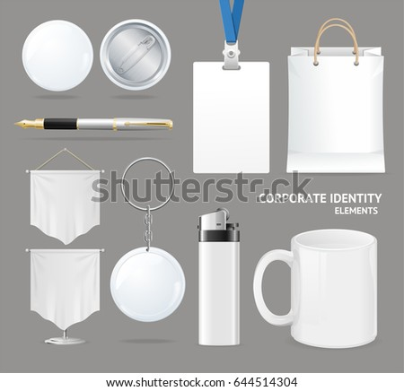 Corporate Identity Empty Blank White Set Cup, Lighter and Flag Symbol Promotion Advertising . Vector illustration #644514304
