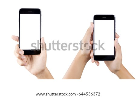 Woman hand holding smartphone isolated on white background. white screen #644536372