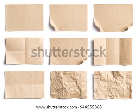 Collection of Recycled paper,crumpled paper,unfolded piece paper on white background Royalty-Free Stock Photo #644555368