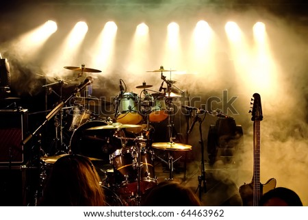 Music Instruments, Drums/Guitar on stage Royalty-Free Stock Photo #64463962