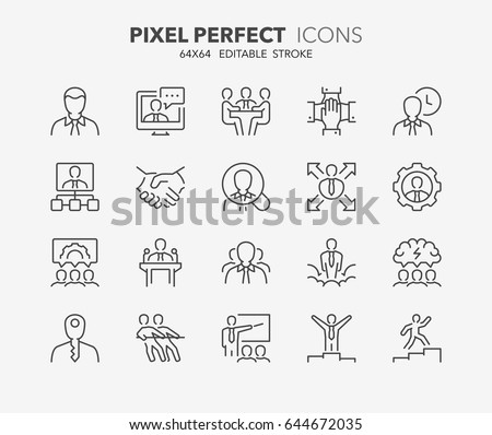 Thin line icons set of business people and corporate management. Outline symbol collection. Editable vector stroke. 64x64 Pixel Perfect. Royalty-Free Stock Photo #644672035