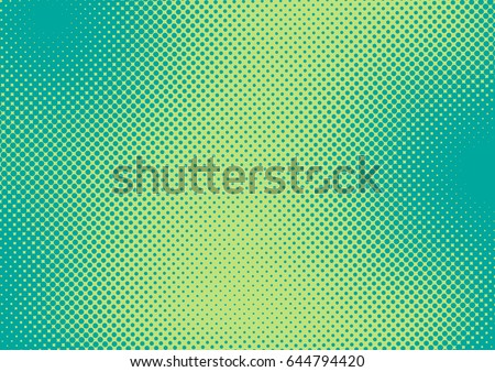 Bright green and turquoise pop art retro background with halftone in comic style, vector illustration eps10