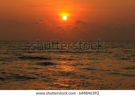 Beautiful sunrise on the sea #644846392
