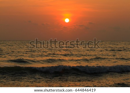 Beautiful sunrise on the sea #644846419