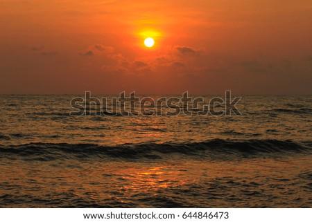 Beautiful sunrise on the sea #644846473