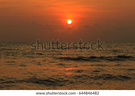 Beautiful sunrise on the sea #644846482