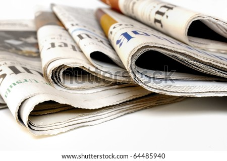 Various newspapers over white background Royalty-Free Stock Photo #64485940