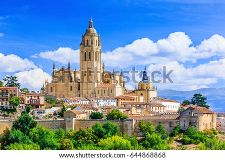 Segovia, Spain. View over the town with its cathedral and medieval walls. #644868868