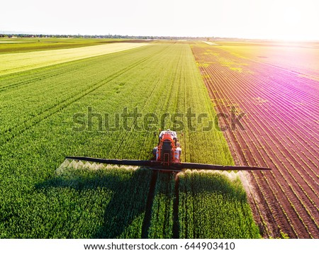 Farmer spraying green wheat field Royalty-Free Stock Photo #644903410