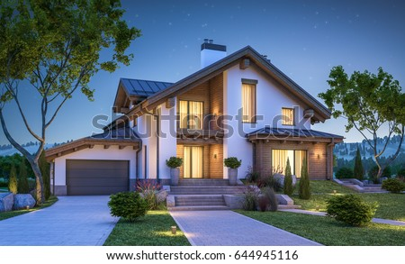 3d rendering of modern cozy house in chalet style with garage for sale or rent with many grass on lawn. Clear summer night with stars on the sky. Cozy warm light from window #644945116
