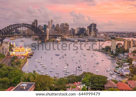 Downtown Sydney skyline in Australia at twilight #644999479