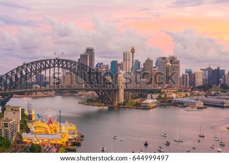 Downtown Sydney skyline in Australia at twilight #644999497