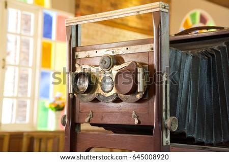 Vintage wooden large format camera.