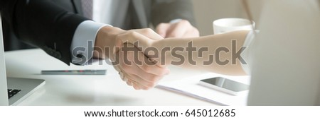 Closeup of male and female hands handshaking after effective negotiation showing mutual respect. Business concept. Horizontal photo banner for website header design with copy space for text