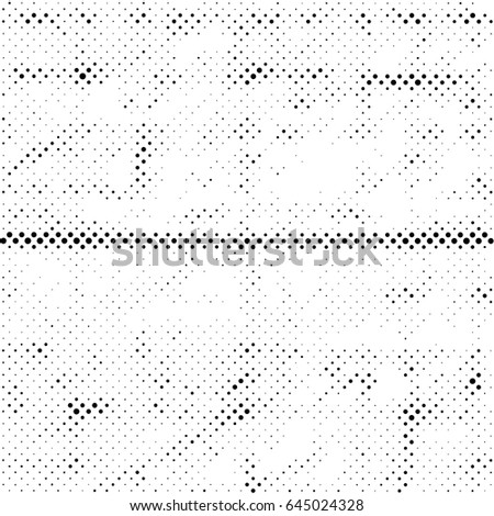 Grunge Halftone Vintage Vector Background. Ink Dots Texture Design Element. Easy To Create Abstract Dirty, Damaged,  Dotted, Spotted, Circles Effect. Aging Dots Overlay. Round Particles Backdrop  #645024328