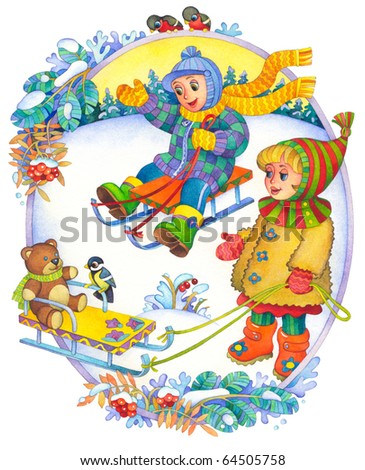 "Watercolor illustration of a series of ""Children and the seasons."" Winter"