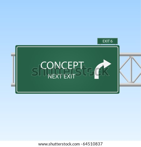 """Image of a highway sign with an exit to """"Concept""""."""