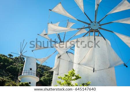 Greece, Crete, Windmills on the hill #645147640