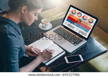 Side view. Young businesswoman sitting at table and making notes in notepad. On table is laptop, smartphone and cup of tea.On computer screen graphics, charts, data, diagrams. Student learning online. #645157486