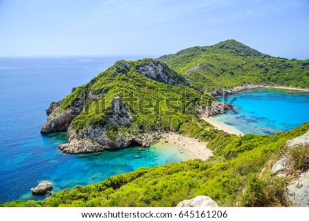 A panorama of Prto Timoni beach in Corfu, Greece #645161206