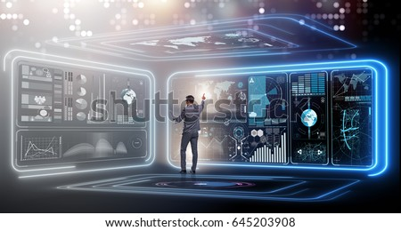 Businessman in big data management concept #645203908