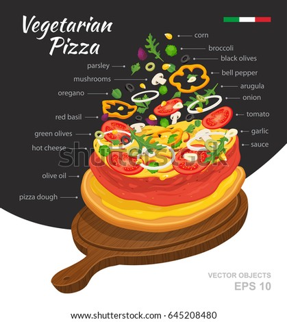 Vector  illustration of hot Vegetarian Pizza on wooden board. Falling ingredients. Traditional Italian recipe. Infographic creative design. Fastfood isolated on black and white background #645208480