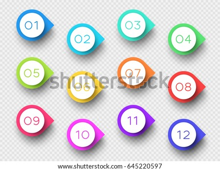 Number Bullet Point Colorful 3d Markers 1 to 12 Vector Royalty-Free Stock Photo #645220597