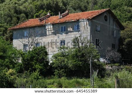 Ruin on the Ligurian Coast (Italy) #645455389