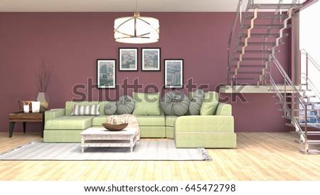 Interior living room. 3d illustration #645472798
